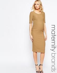 Biege Bodycon Midi Dress
