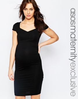 Black Bodycon Dress with Sweetheart Neck
